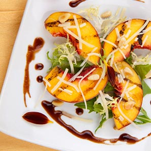 Caramelized Balsamic Peaches and Grilled Brie
