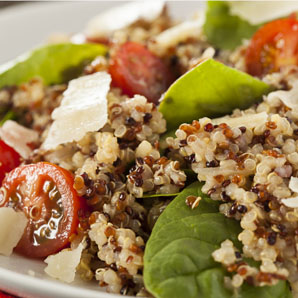 Quinoa, tomato and fresh basil salad