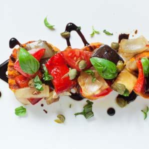 Vinaigre balsamique sur légumes grillés