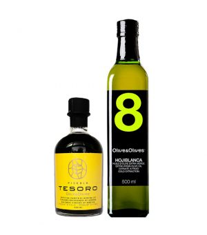 O&O Hojiblanca 8 EVOO and Tesoro Piccolo Balsamic Vinegar Duo