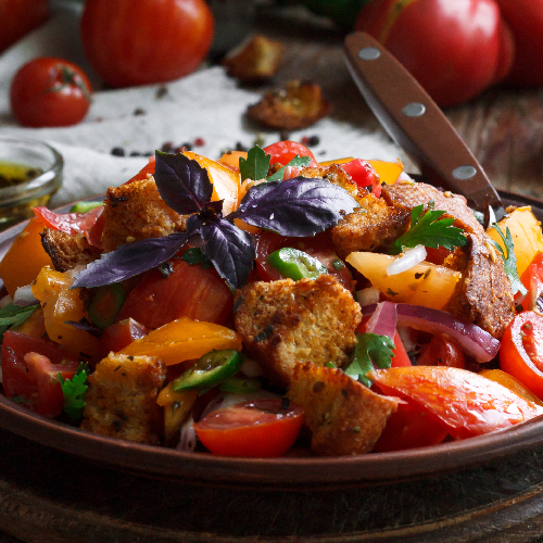 Summer Panzanella with Watermelon, Green Olives and Capers