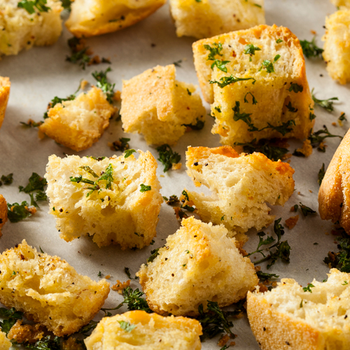Lemon and Black Pepper Mustard Croutons