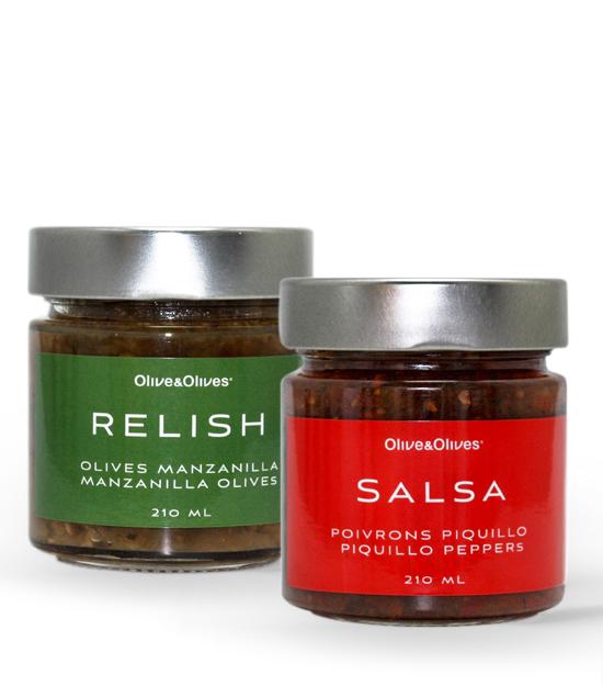 O&O Relish olives Manzanilla et Salsa aux poivrons Piquillo